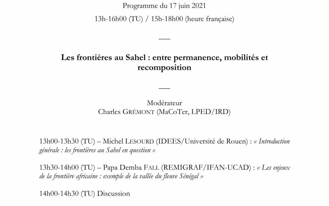 Séminaire général du LMI : Les frontières au Sahel : entre permanence, mobilités et recomposition