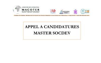 Appel à candidatures – Master SOCDEV