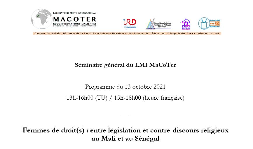 Séminaire : Femmes de droit(s) : entre législation et contre-discours religieux au Mali et au Sénégal